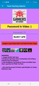 Yasin Gaming injector Apk Free Download For Android 1